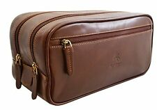 Visconti HT100 Mens Brown Leather Travel Kit Dopp Kit Wash Toiletry Bag Case