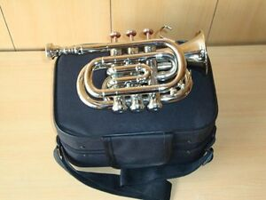 BUY IT NOW! BRAND NEW SILVER Bb POCKET TRUMPET+FREE HARD CASE+MOUTHPIECE