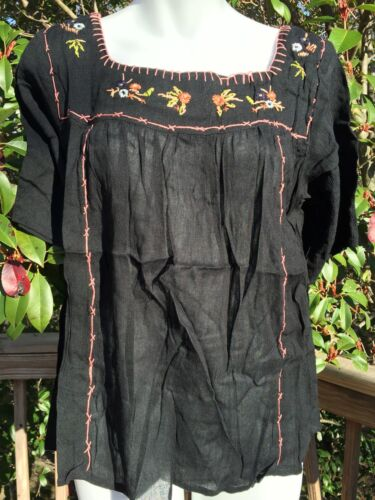 New/_Beautiful/_Peasant Boho/_Mexican Style Embroidered Tunic Shirt/_Black/_S,M,L,XL