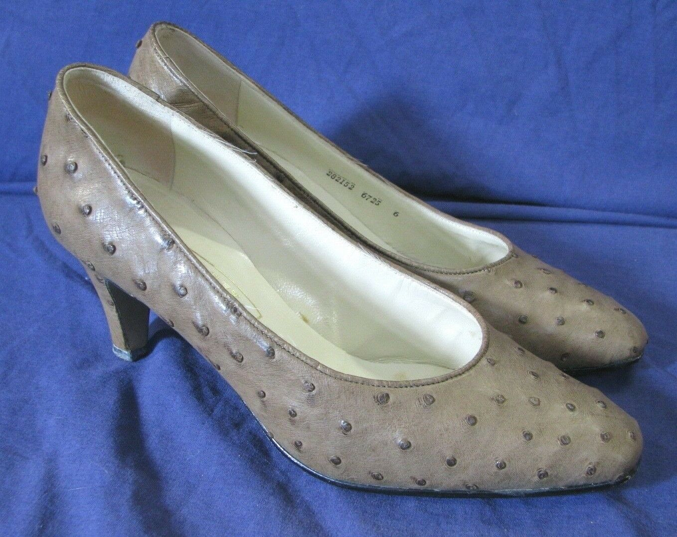 BALLY Full Quill OSTRICH LEATHER PUMPS SHOES Nutmeg Brown VINTAGE HEELS Mandi 6