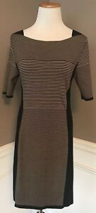 Rag-amp-Bone-M-Black-Beige-Striped-Knit-Sweater-Dress-Euc