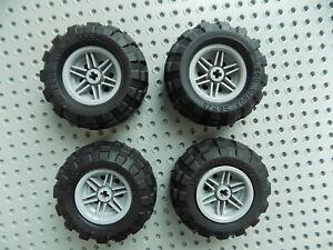 I Lego Lot 4 Wheel /& Tire Assemblies 56145c02 56 x 26 Light Bluish Gray Rims