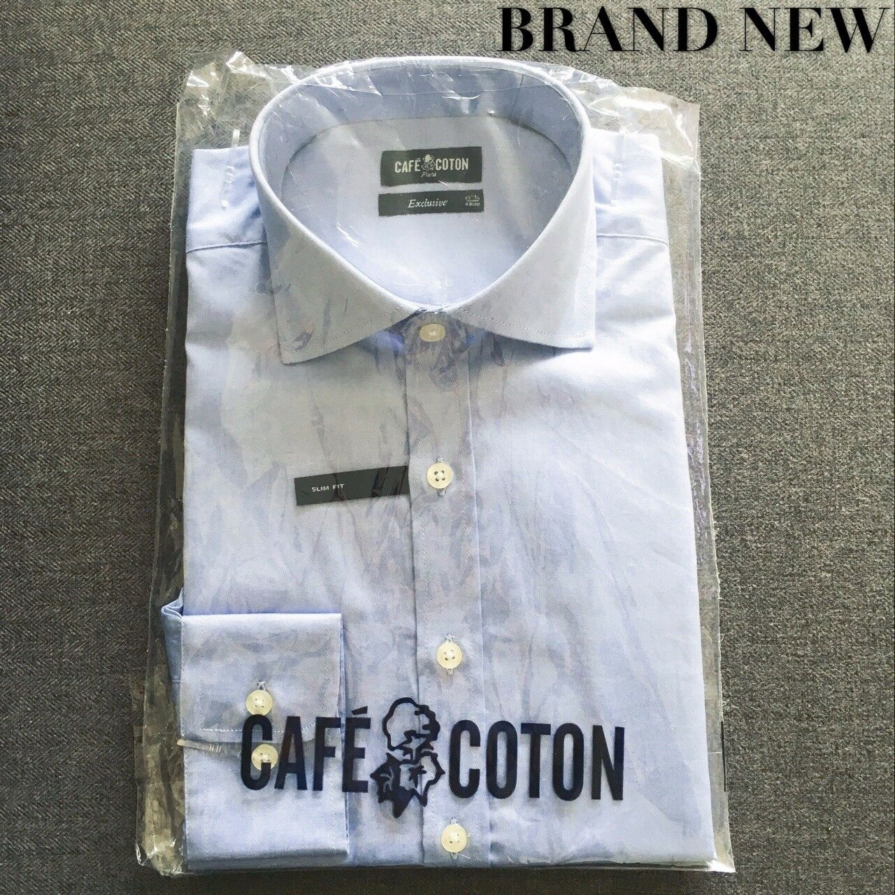 Cafe Coton 15.75  40cm Men's Shirt Long Sleeve Single Cuff Cotton Plain bluee
