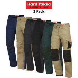 Mens-Hard-Yakka-Legends-Pants-Work-2-Pk-Cargo-Cordura-Panama-Weave-Phone-Y02202