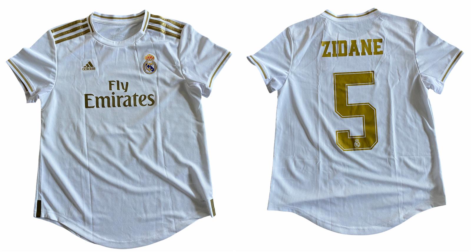 Real Madrid Football Shirt Womens Adidas Home Shirt - Zidane 5 - New