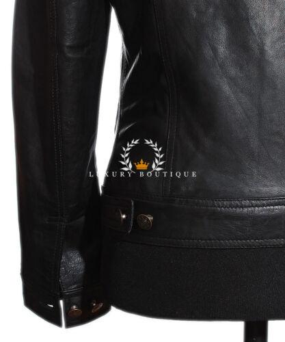 Convoy Black Men/'s Trucker Casual Biker Real Lambskin Soft Leather Shirt Jacket