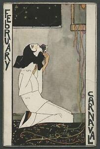 c-1920s-Art-Deco-Artist-RIE-CRAMER-Calendar-Month-Postcard-FEBRUARY-CARNAVAL