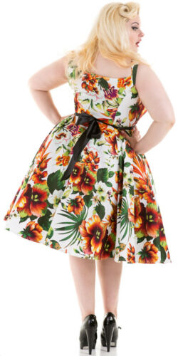 amp; Lily Size Kleid Blumen Plus Floral Swing Hearts Roses Princess Rockabilly 4Fdxaawg