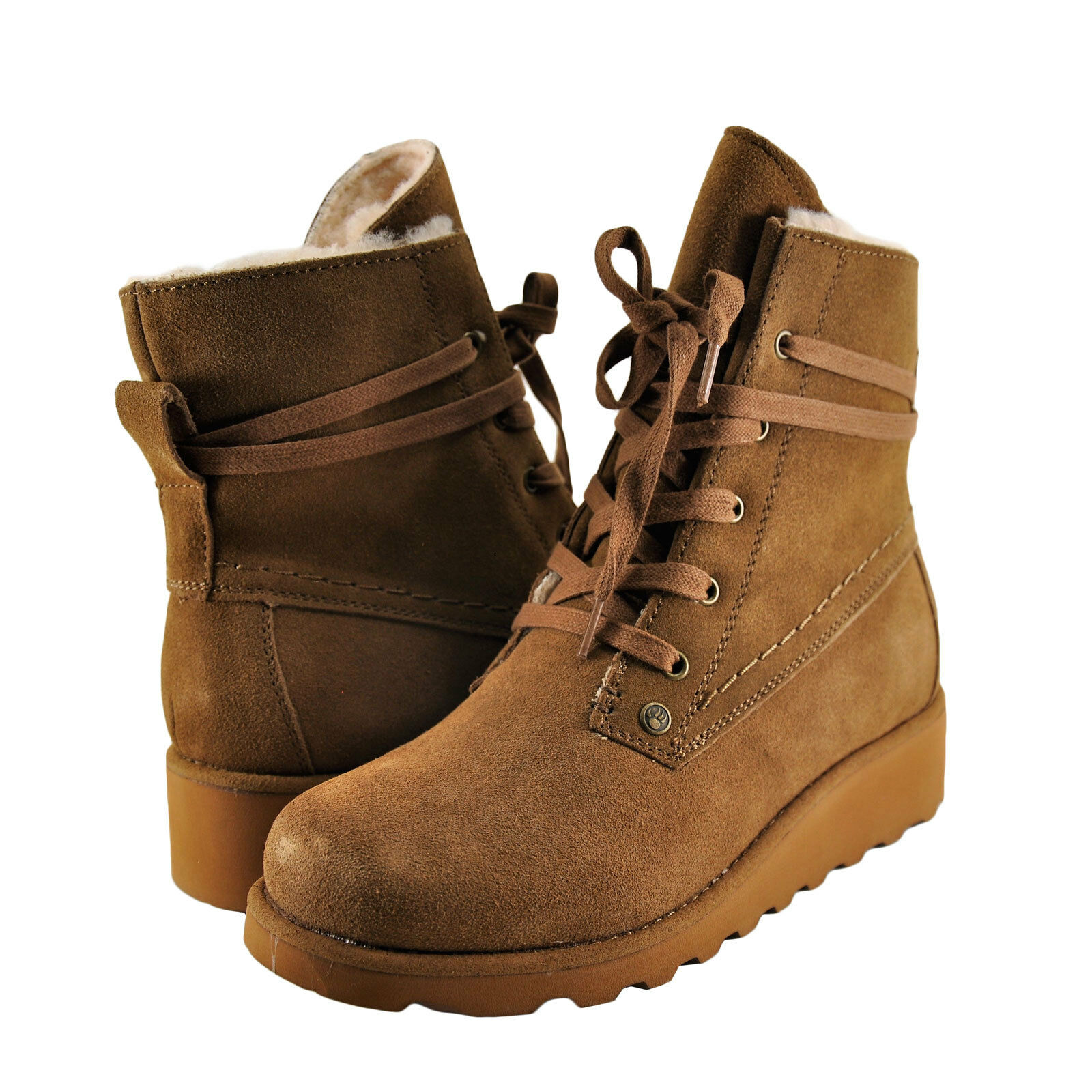Chaussures Femmes Bearpaw Krista Lace Up Wedge démarrage 2025 Hickory  NEUF