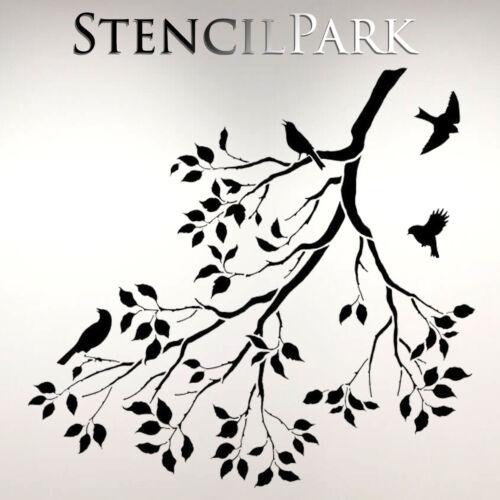 Birds On Tree Art Craft Reusable Stencil Decor Size  A5 4 3 2 1 //205