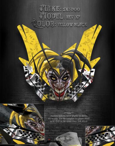 "SKI-DOO XP REV HOOD GRAPHICS YELLOW /& BLACK 08-12 /""THE JESTERS GRIN/"" MXZ 09 11"
