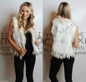 gilet moda di collo con lavorato raccoon nappa maglia di pelliccia a di gilet coniglio Gilet fxp4Tw80qW