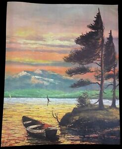 Gorgeous-ROWBOAT-Mountain-LAKE-Pine-TREES-CANVAS-8X10-LITHOGRAPH-MCM-Unframed