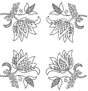 Vintage-Visage-iron-on-embroidery-transfer-Jacobean-deco-flower-motifs-2-sheets