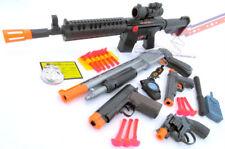 Toy Gun MEGA SET M-16 Machine Gun Pump-Action Shotgun 2x 9MM Dart Guns Revolver