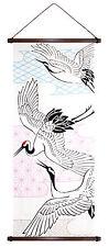 Japanische Wandbehang TSURU Kraniche Japan Wanddeko Rollbild Stoff Asia Deko
