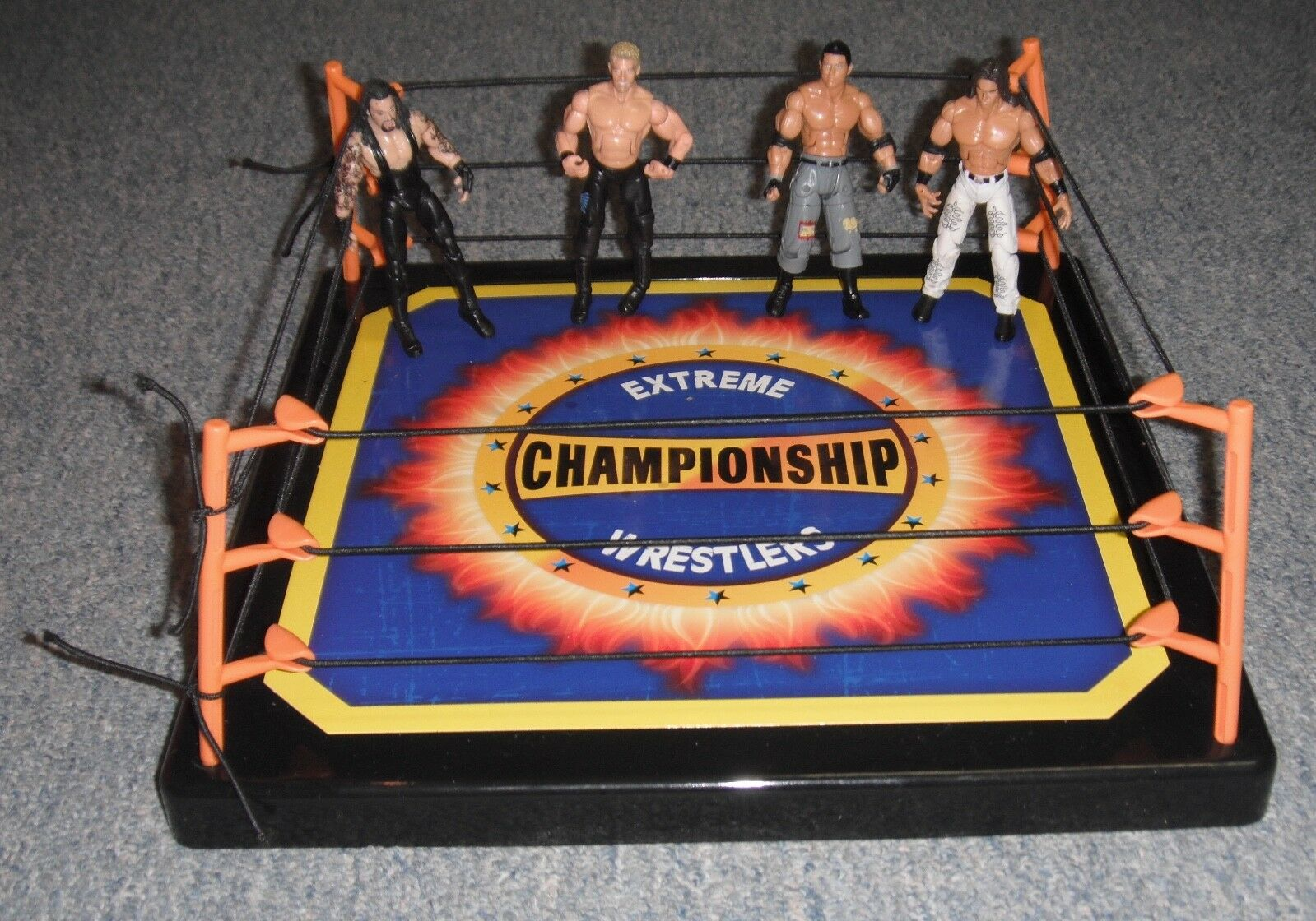 WWE Build And Brawl Rare Jakks Mini Action Figures, Vintage Lot of 4 W Ring