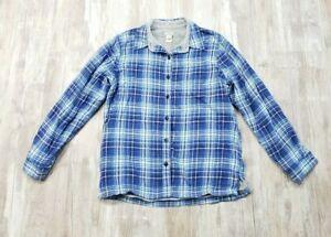 L-L-Bean-Women-039-s-Blue-Flannel-Plaid-Fleece-Lined-Button-front-Top-Small