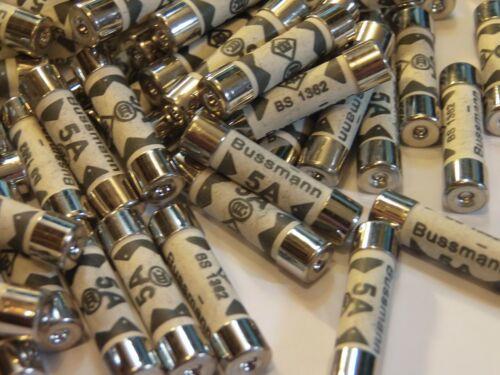 100 BUSSMANN fusibles 5A 240V BS1362 100 X 5AMP enchufe doméstico fusibles L200