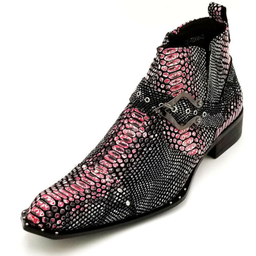 G4H937-10 Black Pink Snake Print Harness Strap Studded Zota Unique Ankle Boot