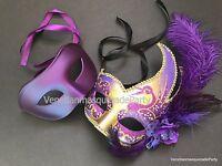 Couple Masquerade Mask Pair Halloween Costume Dress Up Graduation Dance Party