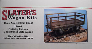 Slaters-16W03-Ffestiniog-2-Ton-Braked-Slate-Wagon-Kit-16mm-Scale-32mm-Gauge-T48P