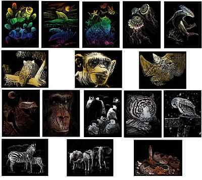 CHOICE OF 16 WILD ANIMAL DESIGNS A4 ENGRAVING ART SCRAPER CRAFT FOIL KITS & TOOL
