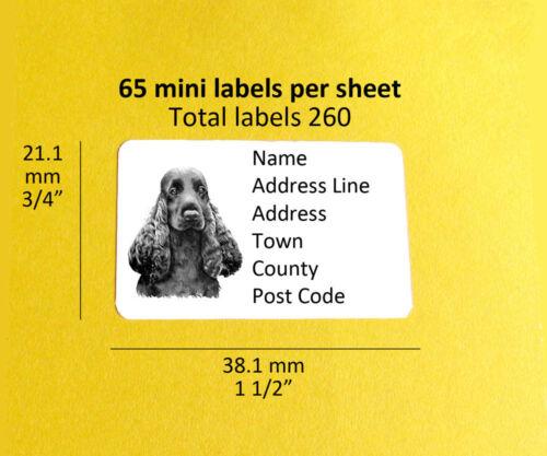 Cocker spaniel 260 personnalisé Chien Adresse Étiquettes Autocollants