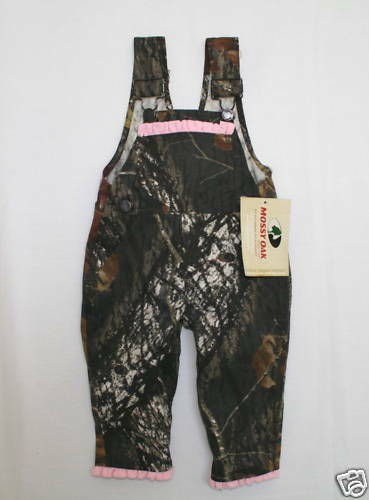 Camouflage Pink Trim Girl Mossy Oak Camo Baby or Toddler Bib Overalls