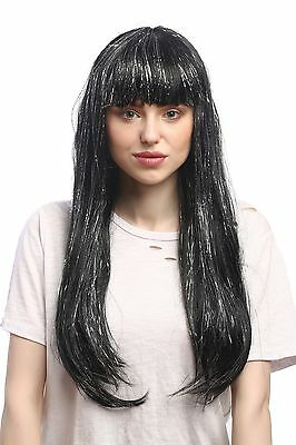 Wig Ladies Carnival Black Long Smooth Fringe Silver Glitter Streaks