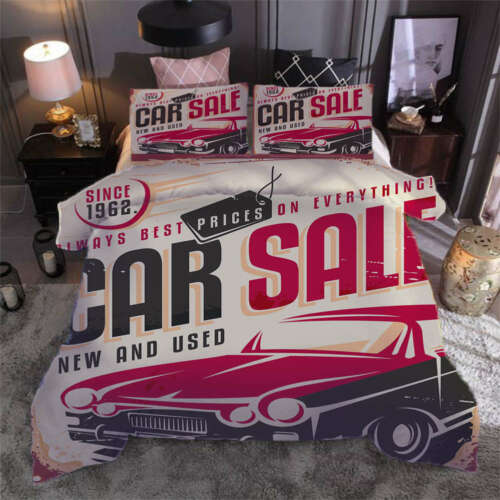 Retro cool cars3D Print Duvet Quilt Doona Covers Pillow Case Bedding Sets