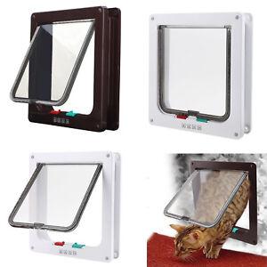 Pet-door-4-way-locking-Small-Medium-Large-Dog-Cat-Flap-Magnetic-White-Frame