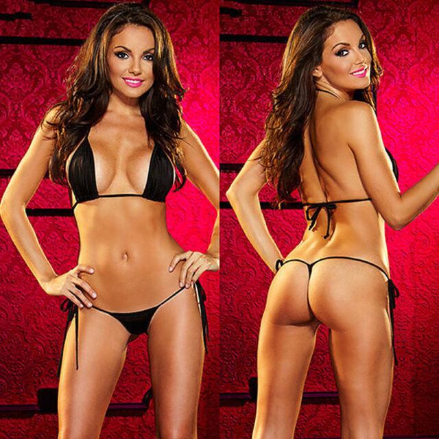 8b67defaca Sexy Black Micro G String Bikini Tie Up Stripper Naughty Beach Swimwear