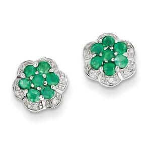 925-Sterling-Silver-Rhodium-Emerald-amp-Genuine-Diamond-Post-Earrings-8mm-x-9mm