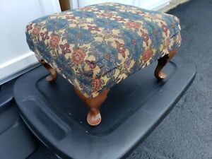 Pleasing Details About Vintage Footstool Tapestry Cloth Wood Legs Foot Rest Ottoman Stool Machost Co Dining Chair Design Ideas Machostcouk