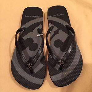 7cb3b07b0975f NEW TORY BURCH Black  Black Emory Flip Flop Sandals    CHOOSE YOUR ...