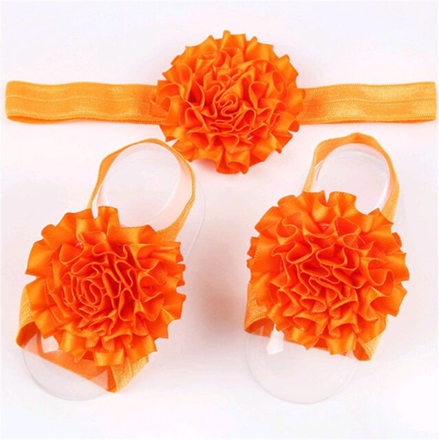 1set/3Pcs Baby Infant Headband Foot Flower Elastic Hair Band Accessories Orange
