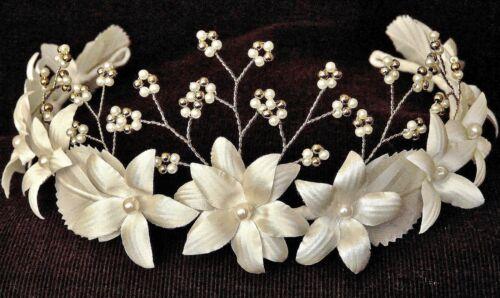 Bethlehem Star Flower Girl Headband Floral Crown Wedding Tiara IVORY /& GOLD