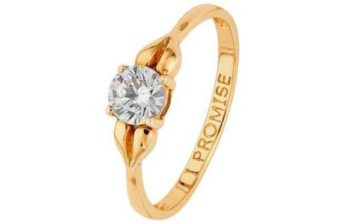 N,O Revere 9ct Gold Cubic Zirconia 0.50ct Look /'I Promise/' Ring Size  L M