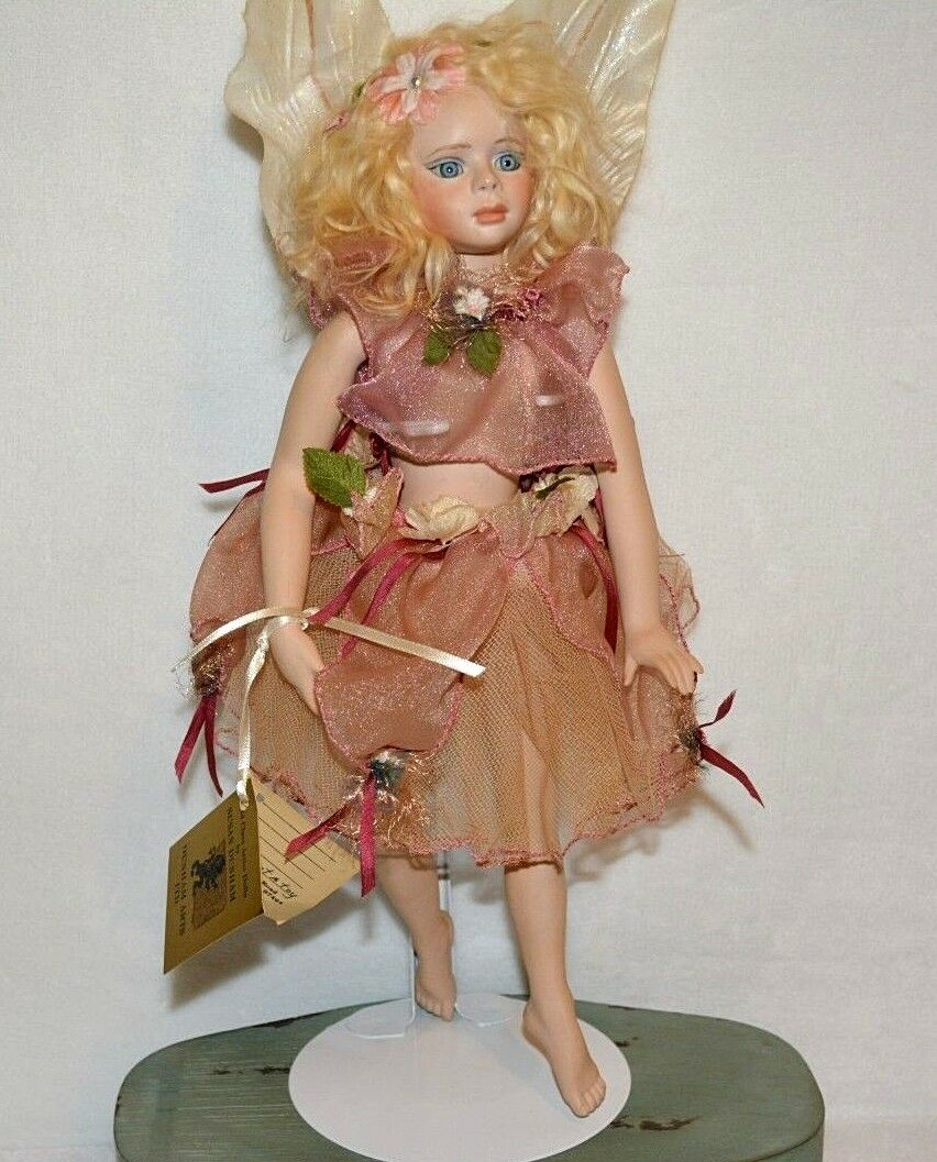 Muñeca De Porcelana Bailarina Hada artista hizo Susan Dunham Gigi Flor Hada certificado de autenticidad