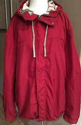 $795 Burberry Brit Check Trim coat Jacket Large Rain Proof Red Unisex SZ L