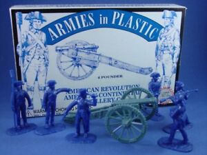ARMIES-IN-PLASTIC-5478-REVOLUTIONARY-WAR-AMERICAN-ARTILLERY-6-Figures-Cannon
