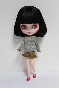 "12"" Neo Blythe doll nude Takara doll Girl's Toy Black cute short hair SD82"