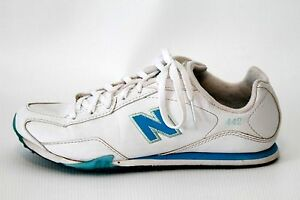 New-Balance-Womens-442-White-Blue-Leather-Sneakers-Shoes-Size-7