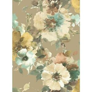 Wallpaper-Large-Teal-Green-Aqua-Peach-Brown-Yellow-Cream-Floral-Trellis-on-Taupe