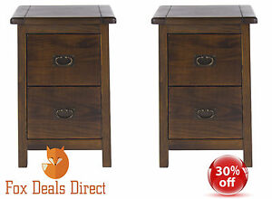 Bedside-Cabinet-PAIR-Of-Dark-Wood-2-Drawer-Petite-Boston-Bedroom-Furniture-Range