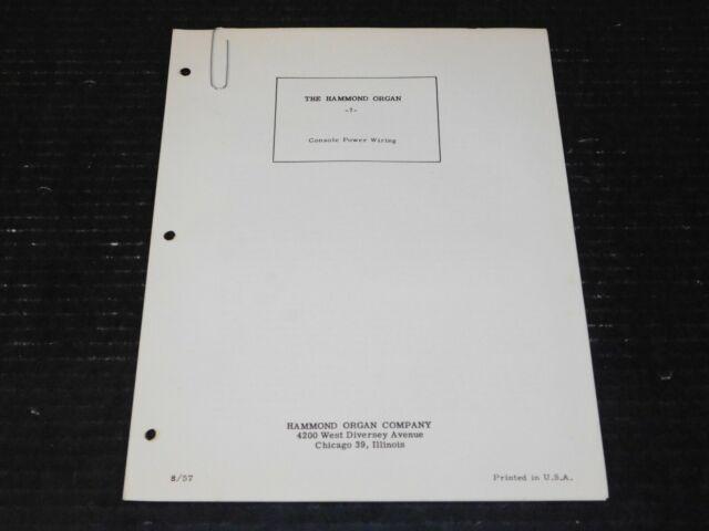 Vtg Hammond Organ Console Power Wiring Chorus Repair Manual Schematic Tube Amp