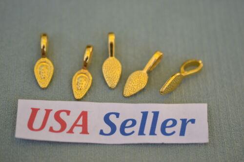 25 Glue-On Pendant Bails 24K Gold Plate Aanraku Style USA ! Jewelry Making