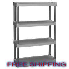 Plastic Shelves 4 Tier Storage Organizer Kitchen Heavy Duty Garage Shelving Unit