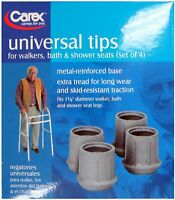 Carex Tips A821-00 For Walkers Bath & Shower Seats Fits 1 & 1/8 Diameter Legs